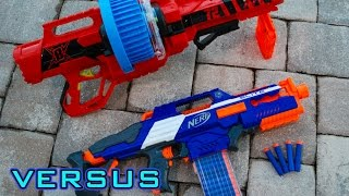 getlinkyoutube.com-[VS] Nerf Rapidstrike vs. BoomCo Colossal Blitz | Which is Better?!