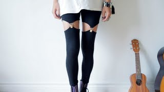 DIY garter leggings - suspender leggins tutorial