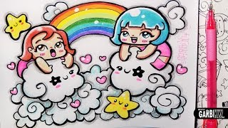 ♥ Girls in the Kawaii Sky ♥ Hello Doodles ♥ Easy Drawings by Garbi KW