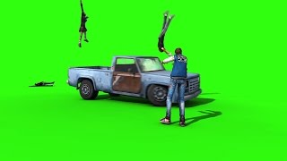 getlinkyoutube.com-Green Screen The Walking Dead Zombies Run Over by Pickup - Footage PixelBoom