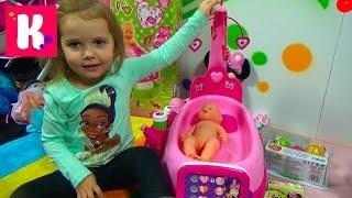 getlinkyoutube.com-Люлька убаюкивалка для пупсика с музыкальная распаковка играем куклой doll care center Smoby