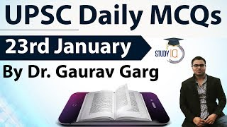 UPSC Daily MCQs on Current Affairs - 23rd January 2018 -  for UPSC CSE/ IAS Preparation Prelims