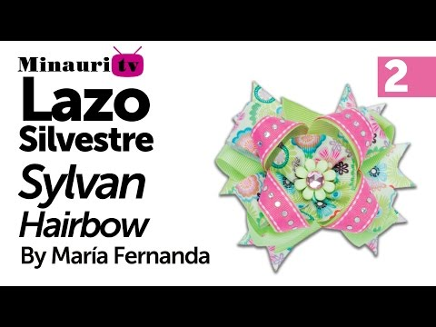 Lazo Silvestre Minauri Lazos Revista 6 (Parte 2 de 2) ( How to make ¨Silvestre¨ hair bows )