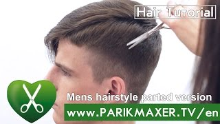 getlinkyoutube.com-Mens hairstyle parted version. parikmaxer tv USA