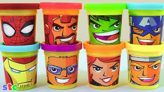 getlinkyoutube.com-Play Doh Marvel Avengers Assemble Can Heads Plastilina de Los Vengadores