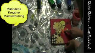 getlinkyoutube.com-Månedens udfordring - sådan maler du en klovn med Kreativ Akrylmaling