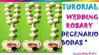 getlinkyoutube.com-Decenario pasta flexible paso a paso / Wedding Rosary cold porcelain / polymer clay