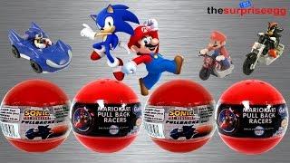 getlinkyoutube.com-Mario Kart Wii - Sonic the Hedgehog pullbacks Gacha TOMY surprise balls toys unboxing opening