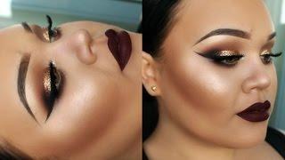 getlinkyoutube.com-Gold Glitter Eyes | Full Face Drugstore Makeup Tutorial | New Years Eve | Makeupwithjah