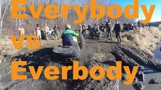 getlinkyoutube.com-Polaris VS Can-Am VS Yamaha VS Kawaski VS Kymco - Muddy Riverbank Ravine