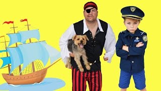 The Stolen Dog + Pirate, Gru real life Kid Cops YouTube Family Friendly Video with Officer Ryan JAIL