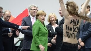 Femen attacks Putin in Hannover