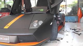getlinkyoutube.com-ฟิล์มเปลี่ยนสีรถยนต์ Lamborghini Murcielago (Matte Black) By Wrap Society