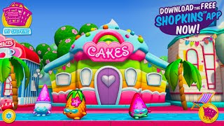 getlinkyoutube.com-Shopkins Welcome To Shopville Rainbow Kate's Cake Shop Summer App Update With Nightime Fireworks