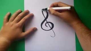getlinkyoutube.com-Como dibujar una clave de sol paso a paso | How to draw treble clef