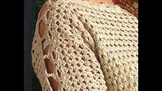 getlinkyoutube.com-Sabes tejer  ?  Que tal suéter cerrado mangas caladas a crochet