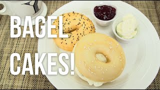 getlinkyoutube.com-How to Make A BAGEL AND CREAM CHEESE out of CAKE! Vanilla cake bagels and buttercream filling!