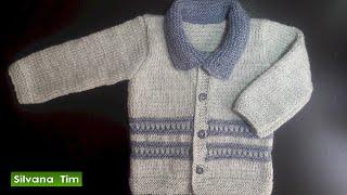 getlinkyoutube.com-Saquito, chaqueta (jersey) para bebes. Tejido con dos agujas # 471