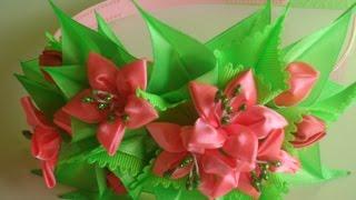 getlinkyoutube.com-Розовая Лилия ободок для волос Канзаши