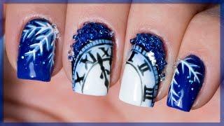 getlinkyoutube.com-Новогодний дизайн ногтей с хрустальной крошкой, часиками и снежинкой