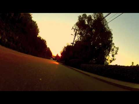 skateboard sunrise in santa cruz