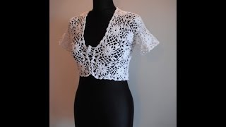 getlinkyoutube.com-how to crochet white bolero chaleco free pattern tutorial
