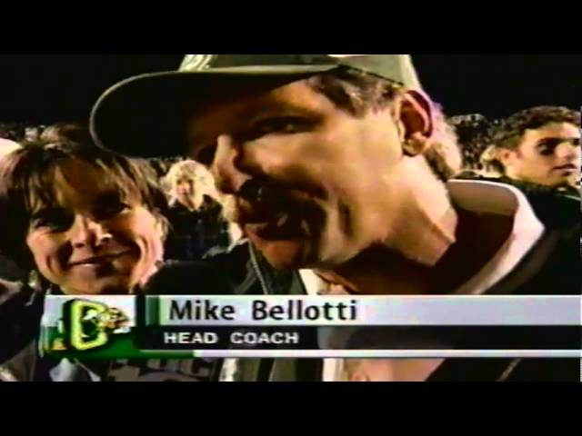 Postgame celebration and Mike Bellotti interview after Oregon victory over USC 10-24-98