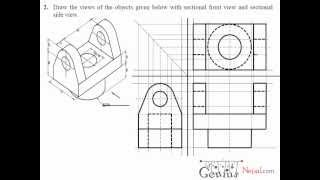 getlinkyoutube.com-Engineering Drawing Tutorials / Orthographic Drawing with Sectional Front & Side view (T 7.2A)
