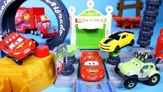 getlinkyoutube.com-Cars Disney Cars Lightning McQueen Tailpipe caverns Luigi's loop & Bumblebee Tayo Poli mini cars