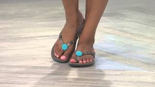 getlinkyoutube.com-Vionic w/ Orthaheel Embellished Thong Sandals - Felipa with Albany Irvin