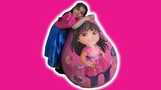 getlinkyoutube.com-Frozen Anna Real Life Movie – Anna Opens Giant Dora The Explorer Surprise Egg + Kinder Eggs!