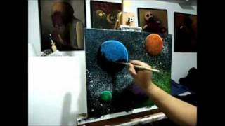 getlinkyoutube.com-*Glow In The Dark Painting (Glow Planets 1) KJB ARTS
