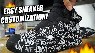 getlinkyoutube.com-Easiest Way To Customize Sneakers! Tutorial: Repaint and Restore Air Force Ones with Words!