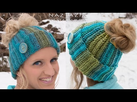 DIY Tutorial - Crochet Messy Bun Hat Beanie - Ribbed Bun Pony Tail Updo Hat Gorro with Hole on Top