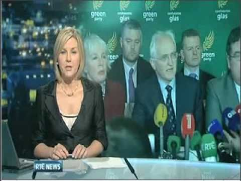 Greens on RTE's Nine News on an election date and the cabinet reconfiguration