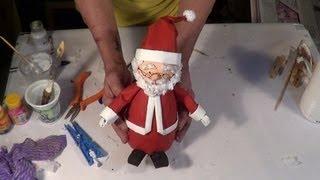 getlinkyoutube.com-DIY - Como fazer um Papai Noel com material reciclado - How to do Santa Claus whis recycled material