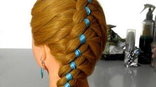 getlinkyoutube.com-Коса в четыре пряди по диагонали. Плетение волос с лентой.