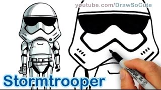 getlinkyoutube.com-How to Draw Star Wars Stormtrooper Cute step by step The Force Awakens