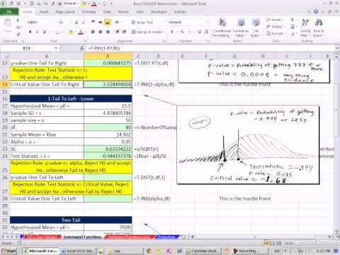 Excel 2010 Statistics 85: T Functions  Hypothesis Testing for p-value & Critical Values 11 Examples