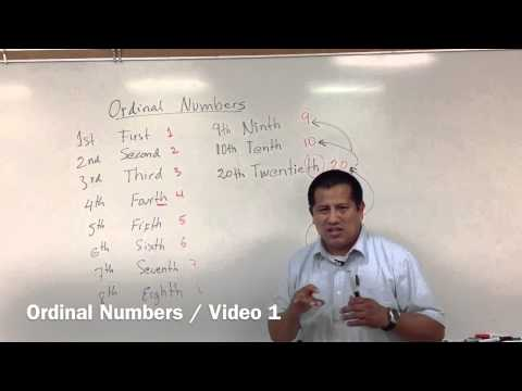 Los numeros ordinales en el Ingles. Ordinal numbers in English.