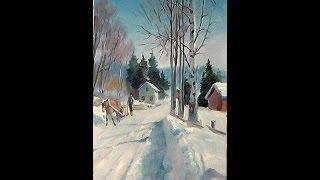 getlinkyoutube.com-Зимний пейзаж  Видео урок масляной живописи