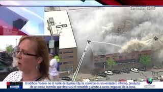Un voraz incendio consumió el edificio Pioneer al norte de Kansas City afectando negocios vecinos