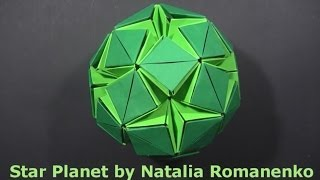 getlinkyoutube.com-Kusudama Star Planet & Stellar Flare by Natalia Romanenko - Yakomoga Origami tutorial
