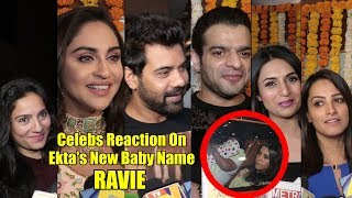 Celebrities Reaction On Ekta Kapoor Baby Name RAVIE | Karan, Divyanka, Anita, Krystal