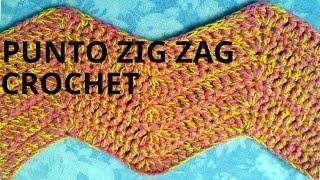 Punto zig zag en tejido crochet o ganchillo tutorial paso a paso.