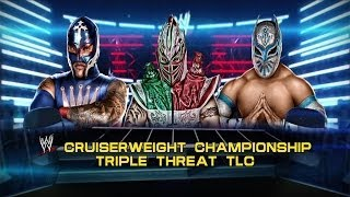 getlinkyoutube.com-WWE 2K14: Kalisto vs Sin Cara vs Rey Mysterio- Triple Threat TLC Match- Cruiserweight Championship