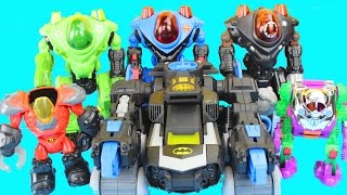 getlinkyoutube.com-Imaginext Robot Wars with Batman Robin Green Lantern Superman Joker Lex Luther DC Superhero Batbot