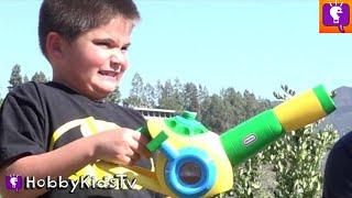 Leaf Blower PRANK on HobbyDad! Blown Away Bubbles + Little Tykes Family Fun Toy Review HobbyKidsTV