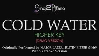 getlinkyoutube.com-Cold Water (Higher Key - Piano karaoke demo) Major Lazer, Justin Bieber, MØ