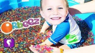 getlinkyoutube.com-Worlds Biggest ORBEEZ Pool Surprises! Toys Minion, Marvel Blind Boxes HobbyKidsTV